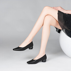 Black Ball Heels Slip On 1 inch Low Heels Womens Footwear Pumps