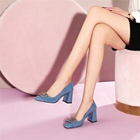 Business Casual Classic Pumps Elegant Slate Blue Block Heel Thick Heel Dress Shoes 3 inch High Heel
