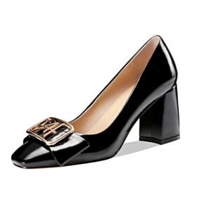 Black 3 inch High Heel Block Heels Metal Jewelry Chunky Leather Pumps Classic Beautiful Square Toe Bowknot