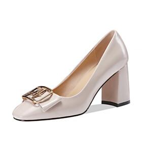With Metal Jewelry Classic Beautiful Closed Toe Block Heel Pumps 3 inch High Heel Chunky Heel