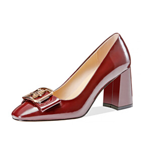 Pumps With Bowknot Classic High Heel Business Casual Block Heels Dress Shoes Burgundy Chunky Hee