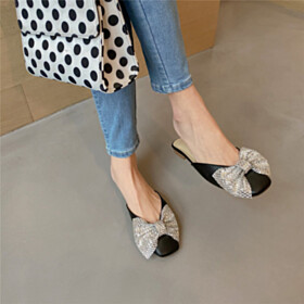 Fashion Comfort Black Sparkly With Bow Going Out Shoes Flat Shoes Metal Jewelry Sandals