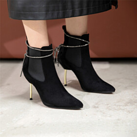 Classic Ankle Boots 3 inch High Heel Black Nubuck Stilettos Pointed Toe Stretchy Chelsea Velvet