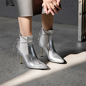 Fur Lined Sparkly Patent Metallic 3 inch High Heel Booties Silver Chelsea Boots