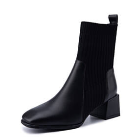 Booties Leather Sock 2 inch Low Heel Business Casual Shoes Sweater Chelsea Comfort Black Chunky
