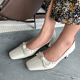 Leather Classic White Chunky Pumps Cut Out 6 cm Heeled Bowknot