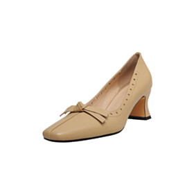 Bowknot Pumps 6 cm Heel Slip On Square Toe Classic Comfort Business Casual