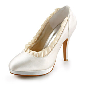 Satin Round Toe Beautiful Bridals Wedding Shoes Stilettos 4 inch High Heel