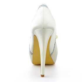 Bridals Wedding Shoes Peep Toe Slip On Formal Dress Shoes 13 cm High Heels Platform Heel Beautiful