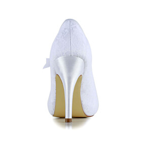 Lace Evening Shoes White High Heels Closed Toe Stilettos Bowknot Bridal Shoes