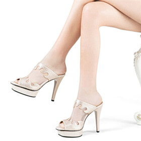 Sandals For Women Party Shoes High Heel Open Toe With Rhinestones Sparkly Platform Mules Tulle Fashion