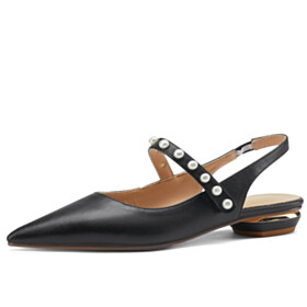 With Pearl Slingbacks Mary Janes Pumps Business Casual Comfort Ankle Strap Low Heeled Pointed Toe Thick Heel