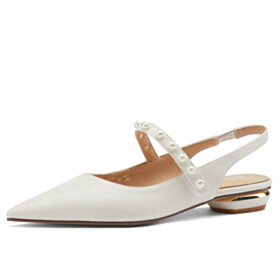 Pointed Toe Pumps Comfortable With Pearls Elegant Leather Low Heeled