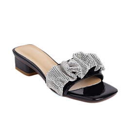 With Rhinestones Chunky Heel Peep Toe Sparkly Low Heel Black Faux Leather Fashion Womens Sandals