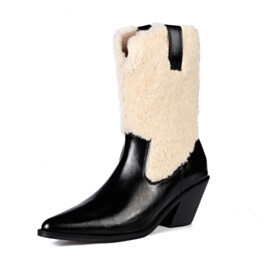 Black Ankle Boots Leather Fluffy Faux Fur 6 cm Mid Heel Comfort Chunky