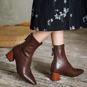Comfortable Booties Brown Sock Stretch Pointed Toe 6 cm Mid Heels Fashion