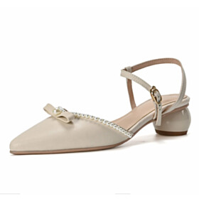 Sandals Shoes For Women Cute Leather Business Casual Shoes Ball Heels With Bowknot Low Heel Beautiful Pearl White