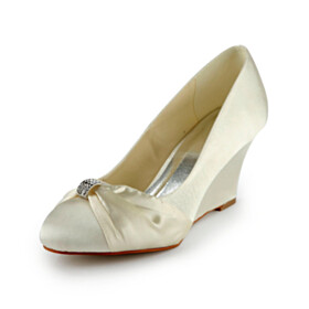 Pumps Champagne Wedding Shoes For Bridal Spring With Rhinestones Wedges