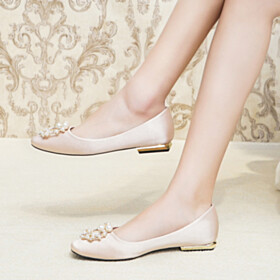 With Pearls Satin Flats Bridals Wedding Shoes Slip On