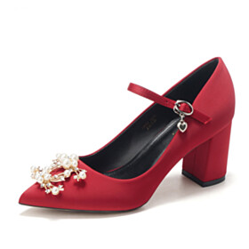 Wedding Shoes Pumps Satin With Pearls Pointed Toe Burgundy Mid High Heeled