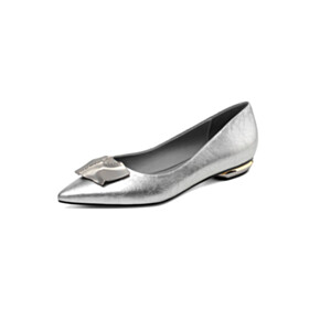 Silver Pointed Toe Business Casual Shoes Flats Comfort Ballet Rhinestones Leather