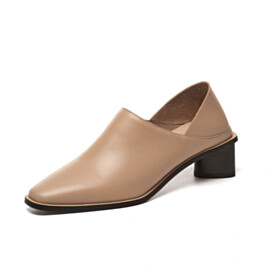 Womens Shoes 2 inch Low Heel Leather Block Heels Loafers Comfort Slip On Classic