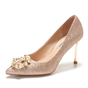 Champagne Luxury Prom Shoes 3 inch High Heel Stiletto Pointed Toe Party Shoes Wedding Shoes Pumps