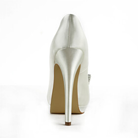 Bridal Shoes Spring Slip On Open Toe Stiletto 5 inch High Heeled With Bow Elegant Satin Pumps Formal Dress Shoes