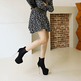 Stilettos Round Toe Leather Black Platform Nubuck Ankle Boots Over 6 inch High Heel