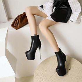 Stilettos Super High Heel Winter Fur Lined Booties Platform
