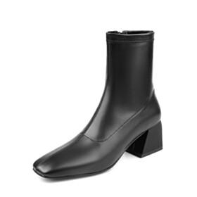 Square Toe Block Heel Work Shoes Ankle Boots 2 inch Low Heel Elegant Black
