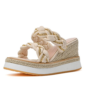10 cm High Heel Slipper Cute With Metal Jewelry Faux Leather Espadrilles Sandals Open Toe Platform Beach Footear Slip On