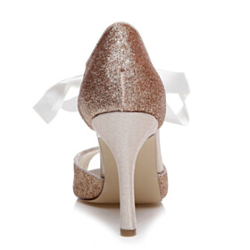 Stiletto Peep Toe Sequin Rose Gold High Heels Sparkly Wedding Shoes