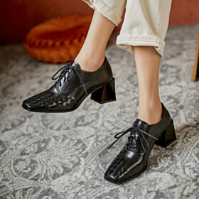 Block Heel Black Mid Heel Lacing Up Oxford Shoes Leather Chunky Classic