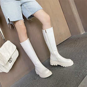 Mid Calf Boot Platform Classic Flat Shoes Comfortable Fur Lined Round Toe