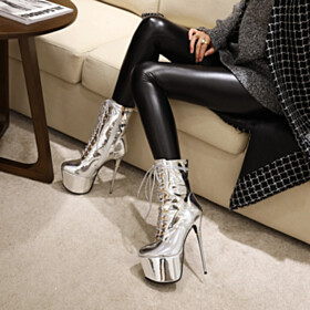 Lace Up Silver Round Toe Booties Over 6 inch High Heeled Platform Heel