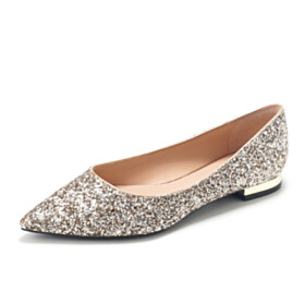 Flats Sequin Closed Toe Party Shoes Comfortable Pointed Toe Prom Shoes Wedding Shoes Sparkly