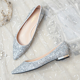 Slip On Wedding Shoes Glitter Shoes Striped Evening Party Shoes Flat Shoes Pointed Toe Prom Shoes Silver