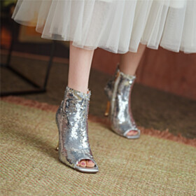 Ombre Stilettos Silver Sparkly Modern High Heel Party Shoes Peep Toe Booties Sequin