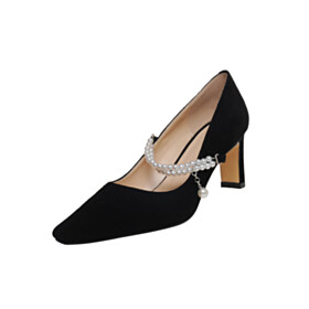 Mid High Heeled Pumps Dress Shoes With Ankle Strap Suede