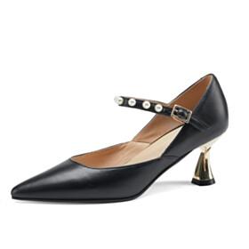 Black Beautiful Pumps Business Casual Pointed Toe Elegant 6 cm Mid Heels