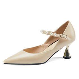Beautiful 2021 Pointed Toe Mid Heel Closed Toe Nude Pearls Leather Cute Business Casual Shoes Pumps