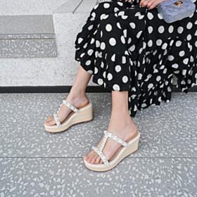 Peep Toe Beach Footear Wedges Bohemian 8 cm High Heels Gladiator Leather Sandals