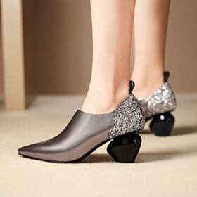 Silver Heels Business Casual Shoes Sequin Shoes