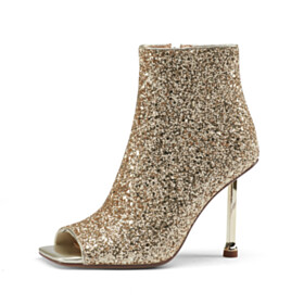 Sparkly Booties Peep Toe Sequin High Heels Stiletto Heels Gold