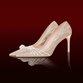 Glitter With Pearl Pointed Toe 3 inch High Heel Beautiful Pumps Wedding Shoes For Women Lace Champagne Stiletto Heels