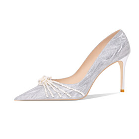 Beautiful Sparkly Glitter Stilettos Pumps Formal Dress Shoes Pearl Silver Bridals Wedding Shoes 3 inch High Heel