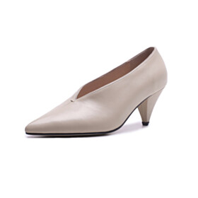 Leather Classic Beige Shoes For Women Cone Heel Pointed Toe 6 cm Mid Heels