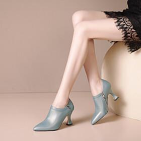 3 inch High Heel Elegant Fashion Shooties Closed Toe Slate Blue