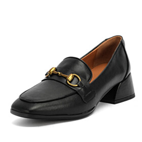 Black Round Toe Business Casual Loafers Fashion With Metal Jewelry Block Heels Low Heel